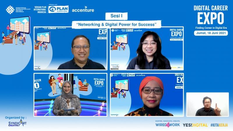 Kemnaker - Plan Indonesia Dorong Kesempatan Kerja Setara bagi Kaum Muda melalui Digital Career Expo 2021